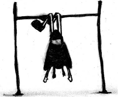 army of ink girl hanging monkey bars